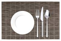 xiaomaizi Placemats for Kitchin and Dining Table Set of 6 Coffee Woven Vinyl Non-Slip Insulation Placemats Washable Heat-Resistant Table Mats for Dining Table PVC Place Mats