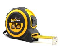 Tape Measure 16-Foot (5m) by Magnelex, Inches and Metric Measuring Tape for Construction, Home Use and DIY, Smooth Sliding Nylon Coated Ruler, Strong Belt Clip, Impact Resistant Rubber Covered Case