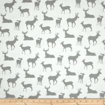 Premier Prints Deer Silhouette Twill Fabric by The Yard, White/Storm