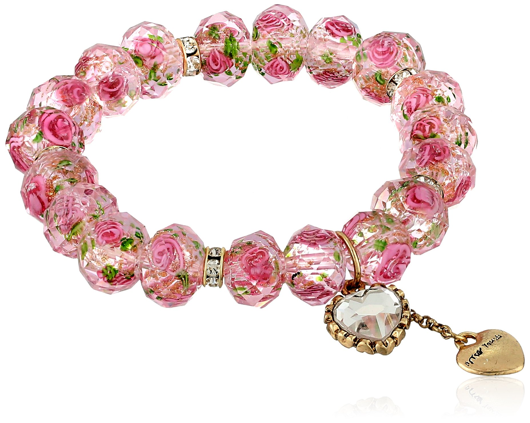 Betsey Johnson Tzarina Pink Beads Stretch Bracelet