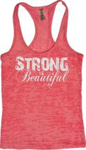 Orange Arrow Womens Workout Tank Tops - Strong is Beautiful - Tanks with Saying
