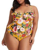 Tutorutor Womens Plus Size Swimwear Peplum Tankini Tops Tummy Control 2 Piece Floral Retro Swimsuits