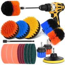 Drill Brush Power Scrubber - Drill Brush Attachment Set, Herrfilk Drill Cleaning Brush with Extend Long Attachment, Scrub Pads & Sponge, All Purpose for Cleaning Car, Bathroom, Grout, Tiles…