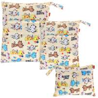 Damero 3pcs Pack Wet Dry Bag for Cloth Diapers Daycare Organizer Bag, Cats