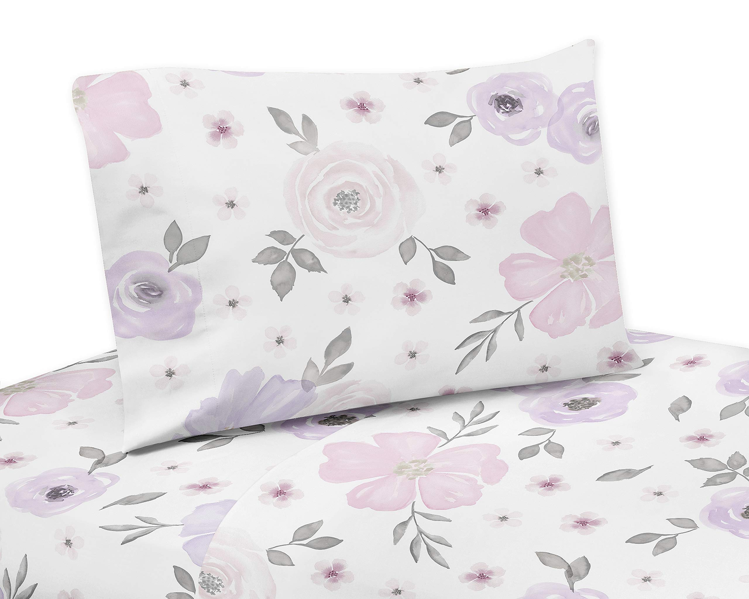 Sweet Jojo Designs Lavender Purple, Pink, Grey and White Queen Sheet Set for Watercolor Floral Collection - 4 piece set - Rose Flower