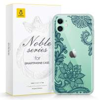 GVIEWIN Noble Series Designed for iPhone 11 Case, Clear Soft TPU Bumper & Hard Back with Floral Pattern Slim Lightweight Graceful Phone Cover for iPhone 11 6.1 Inch 2019 (Lace Lotus/Midnight Green)