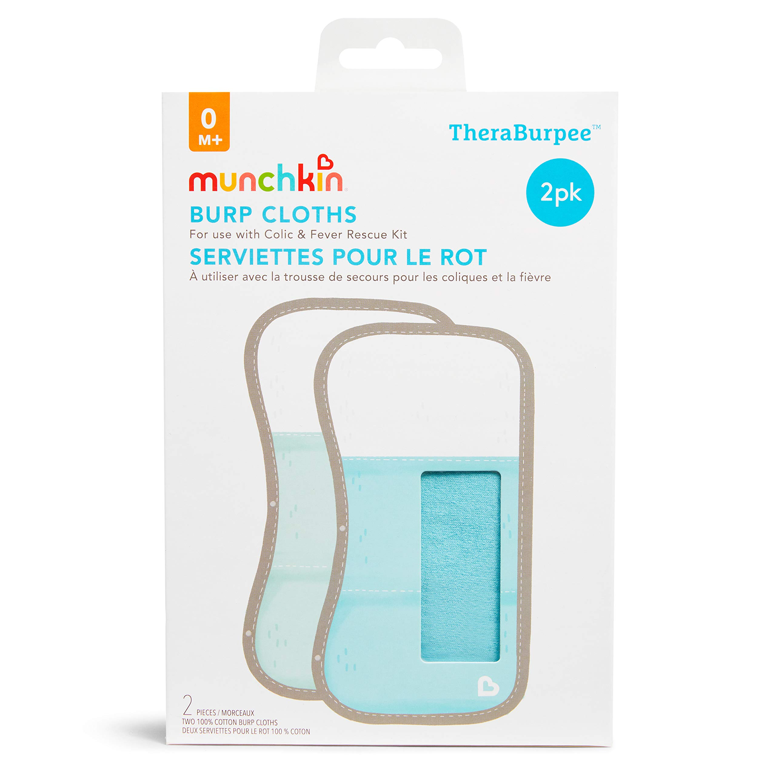 Munchkin TheraBurpee: 2 Pack Burp Cloths with Built-in Pockets, for use with Colic & Fever Rescue Kit, 1 Blue, 1 Mint