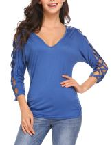ELESOL Women V Neck Cut Out Shirts 3/4 Sleeve Cold Shoulder Open Back Blouse Tops S-XXL