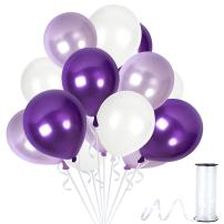 Assorted Metallic White Purple Balloons Garland 12 Inch Lilac Lavender Violet Thick Latex Balloon 100 Pack Wedding Arch Bridal Shower Decorations for Baby Shower Birthday Party Supplies