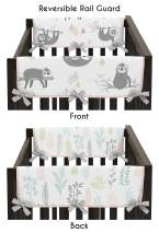 Sweet Jojo Designs Pink and Grey Jungle Sloth Leaf Girl Side Crib Rail Guards Baby Teething Cover Protector Wrap - Set of 2 - Blush, Turquoise, Gray and Green Botanical Rainforest