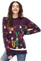Women's Christmas Sweater Ugly Pullover Funny Santa Glitter Lights Reindeer Fair Isle, XX-Large