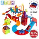 Best Choice Products 105-Piece Kids Magnetic Tile Car Race Track STEM Learning & Building Toy Set w/ 2 Light-Up Cars