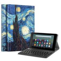 Fintie Slim Keyboard Case for All-New Amazon Fire 7 (9th Generation, 2019 Release), Slim Shell Lightweight Stand Cover with Magnetically Detachable Wireless Bluetooth Keyboard, Starry Night
