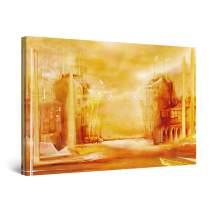 "Startonight Canvas Wall Art Brown City Retro Decor Large Painting Framed 32"" x 48"""