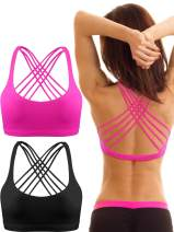 Patelai 2 Pack Womens Padded Sports Bra Cross Back Bra Workout Strappy Bra Seamless Comfortable Yoga Bra