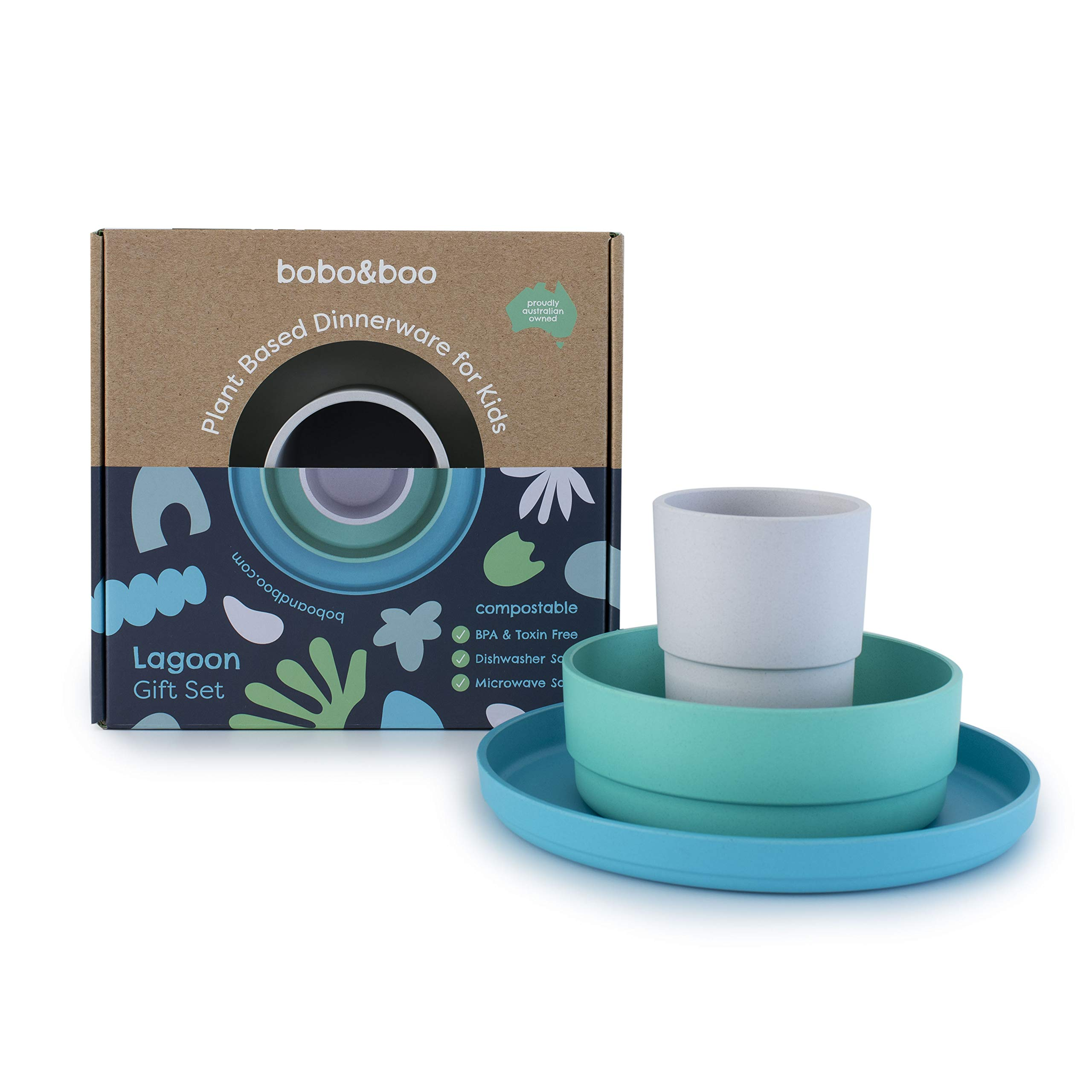 BOBO&BOO Plant-Based Dinnerware Set for Kids   Microwave & Dishwasher Safe   BPA & Melamine Free   Eco Friendly, Biodegradable & Compostable   Reusable Kids 3 Piece Set Cup, Plate and Bowl - LAGOON