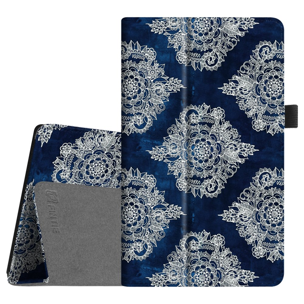 Fintie Folio Case for All-New Amazon Fire HD 8 Tablet (Compatible with 7th and 8th Generation Tablets, 2017 and 2018 Releases) - Slim Fit Vegan Leather Standing Protective Cover, Indigo Dreams