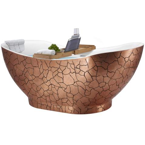 Akdy Freestanding Bathtub 67 Inch Rose Gold Acrylic Tub For Bathroom Flat Bottom Stand Alone Bathtub Modern And Elegant Style Comfortable Curved Design Luxurious Spa Soaking