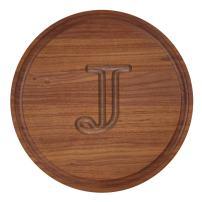 "BigWood Boards W100-J Cutting Board, Monogrammed Cutting Board, Small Round Cheese Board, Walnut Wood Serving Tray, ""J"""