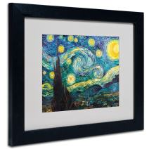 Vincent Van Gogh Starry Night Framed Matted Canvas Art, 11 by 14-Inch, Black