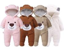 Slivery Color Baby Girl Boy Snowsuit Warm Fleece Hooded Romper Jumpsuit Outfit Hoody Coat Bodysuit
