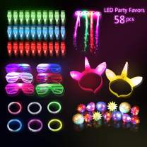 Glow In The Dark Party Favors/Supplies for Kids/Adults-58pcs LED Toys Glow Party Pack 2 LED Unicorn Headband 30 Finger Lights 10 Jelly Rings 6 Shutter Glasses 6 Bracelets 4 Fiber Optic Hair Lights