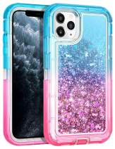 Wollony for iPhone 11 Pro Max Case for Women Glitter Heavy Duty Girly Liquid Bling Quicksand 3 in 1 Hybrid Shockproof Soft Clear Rubber Non-Slip Protective for iPhone 11 Pro Max 6.5inch Lake-Pink