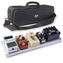 M MAKA One-Piece Anodized Aluminum Guitar Pedalboard with Carrying Bag, Chrome, Small