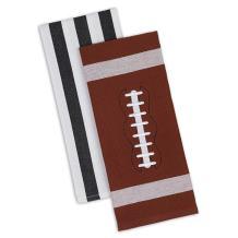 "DII 100% Cotton, Machine Washable, Everyday Kitchen Basic Printed Game Day Dishtowel, 18x28"", Set of 2- Football & Stripes"