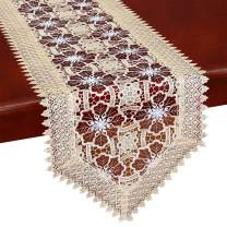 Simhomsen Embroidered Lace Doily Runners Maroon Gauze 16 by 36 Inch