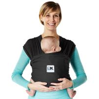 Baby K'tan Breeze Baby Wrap Carrier, Infant and Child Sling - Simple Wrap Holder for Babywearing - No Rings or Buckles - Carry Newborn up to 35 lbs, Black, X-Small (W Dress 2-4 / M Jacket up to 36)