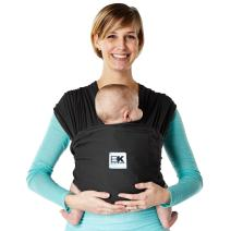 Baby K'tan Breeze Baby Wrap Carrier, Infant and Child Sling - Simple Wrap Holder for Babywearing - No Rings or Buckles - Carry Newborn up to 35 lbs, Black, Medium (W Dress 10-14 / M Jacket 39-42)