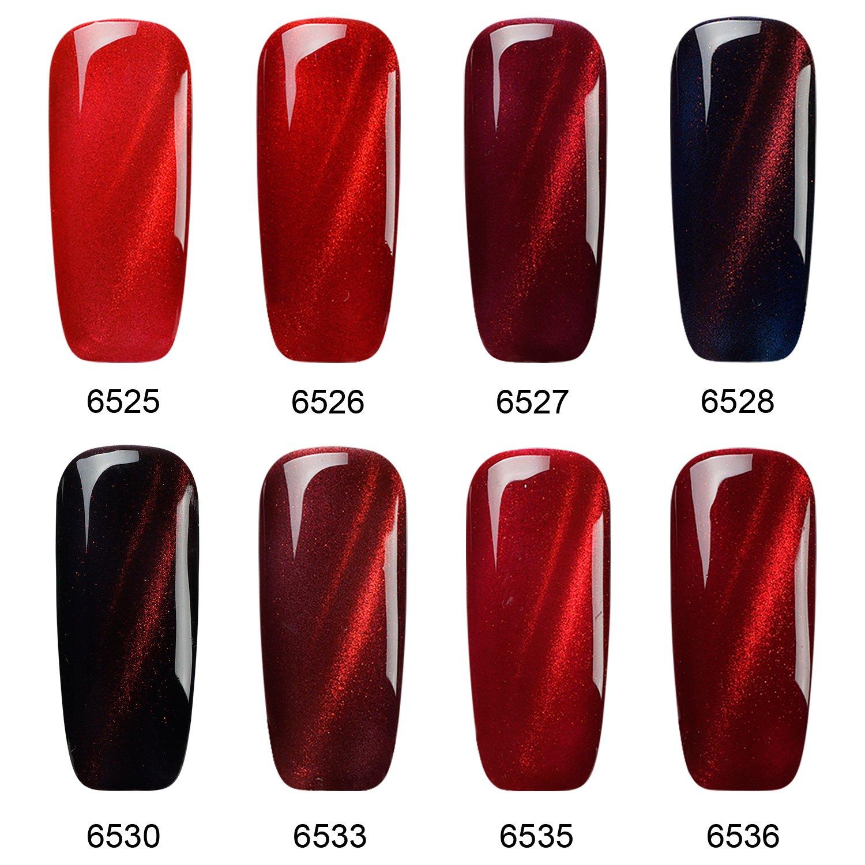 Vrenmol Soak Off UV LED Magnetic 3D Red Flame Cat Eye Nail Gel Polish Nail Art Kit + Free Magnet Stick - 8 Colors 8ML (kit003)