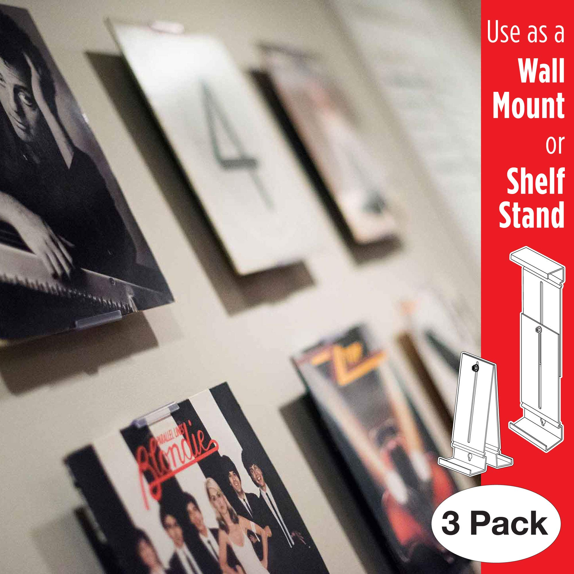 Album Mount Vinyl Record Frame, Wall Mount and Shelf Stand, Invisible and Adjustable, 3 Pack