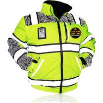 KwikSafety (Charlotte, NC) UNIVERSE Class 3 Safety Bomber Jacket High Visibility ANSI Compliant OSHA Detachable Chest iPocket Foldable Hoodie Thermal Lining Construction Work Wear | Medium