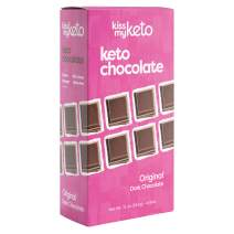 Kiss My Keto Chocolate — Low Carb 100% Sugar Free Chocolate Bars | Original Plain, 4 Bars | Keto Dark Chocolate | No Soluble Corn Fiber, Stevia Sweetened, Infused with MCT Oils