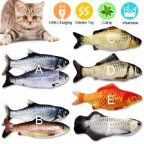 Catnip Cat Toys Kitten Interactive Cat Toy Fish for Indoor Kicker Catfish Cats Supplies Funny Automatic Cat Nip Kitty Pillow Plush Toys for Pets Chew Bite Flopping, Rechargeable Cat Toys