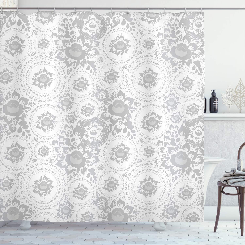 "Ambesonne Grey Shower Curtain, Shabby Form Medieval Slavic Monochrome Rose Petals Florets Fragrance Work of Art, Cloth Fabric Bathroom Decor Set with Hooks, 75"" Long, White"