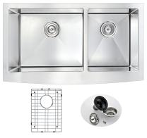 """ANZZI Elysian 36"""" Farmhouse Stainless Steel 60/40 Double Bowl Kitchen Sink in Brushed Satin with Strainer 