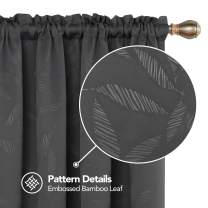 Deconovo Decorative Bamboo Leaf Blackout Rod Pocket Texture Embossed Window Curtains for Kids Room, 52x72 Inch, Dark Grey
