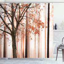"""Ambesonne Autumn Shower Curtain, Picture of a Lonely Tree Leaves on an Abstract Woodland Background Print, Cloth Fabric Bathroom Decor Set with Hooks, 70"""" Long, Burnt Sienna"""