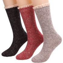 Galsang Womens Soft Winter Knit Warm Wool Blend Crew Socks 3 Pairs,5-9 A201