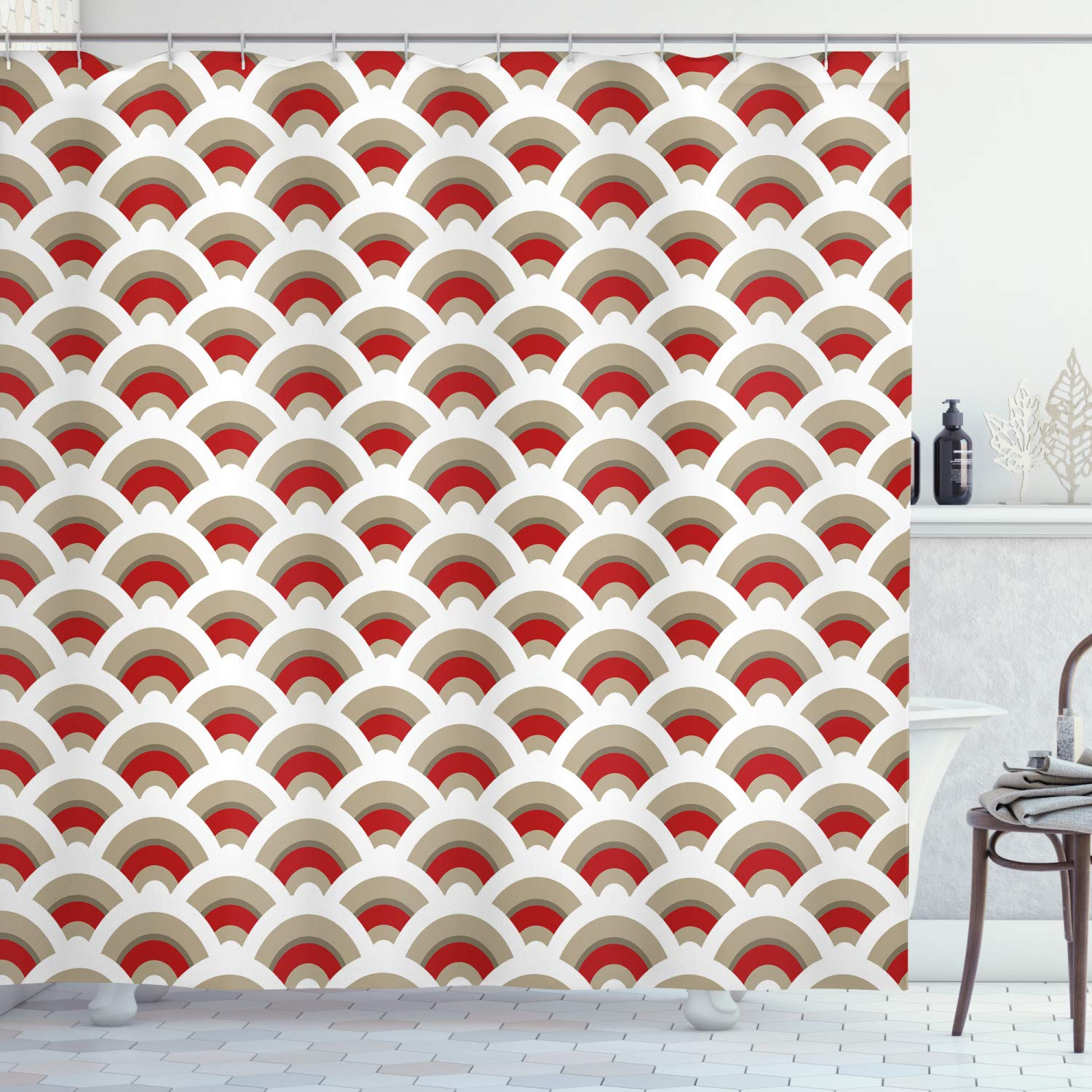 """Ambesonne Abstract Shower Curtain, Oriental Scallop Pattern Inspired by Traditional Moroccan Design, Cloth Fabric Bathroom Decor Set with Hooks, 70"""" Long, Orange White"""