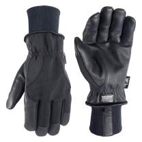 Men's HydraHyde Black Leather Palm Winter Work Gloves (Wells Lamont 1206LK)