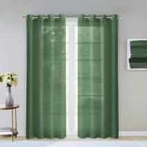 "Dainty Home Malibu Textured Semi-Sheer Linen Look Grommet Top Curtain Panel Pair, 54"" x 84"" each (108"" x 84"" total), Sage Green"
