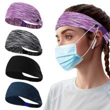 HANMEI Headbands with Buttons for Face Masks, 4 Pack Headband for Women and Nurses Protect Ears, Elastic Headwraps for Yoga Running Workout Sport Head Wrap Hair Band (Color A)