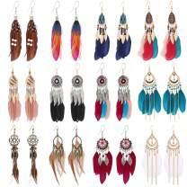 12Pairs Women Feather Earrings Vintage Bohemian Earrings Long Drop Dangle Earrings Set With Dream Catcher Design