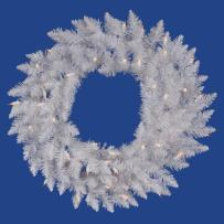 """Vickerman 24"""" Sparkle White Spruce Wreath with 50 Clear lights"""