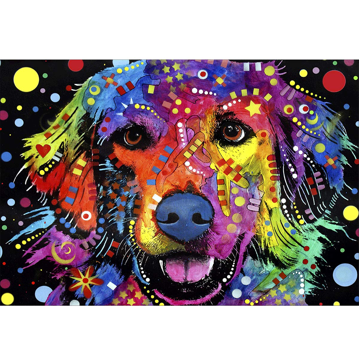 5D Diamond Painting Full Drill Colorful Labrador, Ginfonr DIY Puppy Oil Painting Paint with Diamonds Art Cross Stitch Animal Wall Mosaic Home Decor 12x16 inch (30x40 cm)