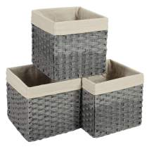 SONGMICS Set of 3 Rattan-Style Storage Baskets Bins, Storage Cubes, Indoor Collapsible Toy Organizer, 27L Decorative Bins with Liner and Handles, Bedroom Closet Laundry Room, Gray URRB130WG